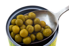Ervilhas verdes de alimento enlatado fotos de stock royalty free