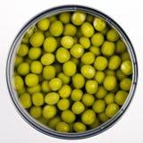 Ervilhas verdes enlatadas Imagens de Stock Royalty Free