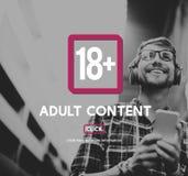 Erwachsene ausdrückliche zufriedene Pluswarnung achtzehn Lizenzfreies Stockbild