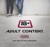 Erwachsene ausdrückliche zufriedene Pluswarnung achtzehn Lizenzfreie Stockbilder