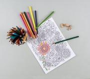 Erwachsene Farbton-Seite, farbige Bleistifte, Bleistift-Schnitzel Lizenzfreies Stockfoto