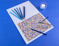 Erwachsene Farbton-Seiten-Szenen-Schatten des Blaus Lizenzfreies Stockbild