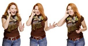 Erwachsene Frau, die emotional das Mobile spricht Stockfotografie