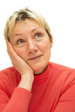 Erwachsene Frau, die mehr als vierzig Jahre ist. Stockfoto