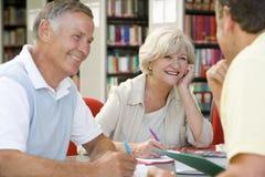 Erwachsene Kursteilnehmer, die in einer Bibliothek zusammenarbeiten Stockbild
