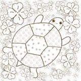 Erwachsene Malbuchseite des Schildkröten-Himmels Nette Schildkröte im Kleegarten Brown-Entwurfsvektorillustration Lizenzfreie Stockfotos