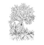 Erwachsene Malbuchseite, lokalisierte feenhafte Dame mit Schmetterling beflügelt Zentangle-Artkunst Schwarzweiss-Monochrom Stockbilder