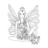 Erwachsene Malbuchseite mit schwangerer Dame und Flügeln Lizenzfreie Stockbilder