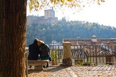 Erwachsene Paare in der Liebe, die in einem Park sitzt stockbilder