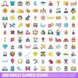 100 erwachsene Spielikonen eingestellt, Karikaturart vektor abbildung