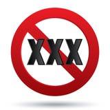 Erwachsene XXX stellen nur Zeichen zufrieden. Vektorknopf. Stockfoto