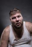 Erwachsener überraschter Mann mit Bart Stockfotografie