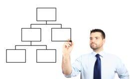 Erwachsener Geschäftsmann, der ein Diagramm zeichnet lizenzfreies stockbild