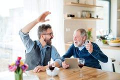 Erwachsener Hippie-Sohn und älterer Vater, die zuhause am Tisch zu Hause sitzt lizenzfreie stockfotos