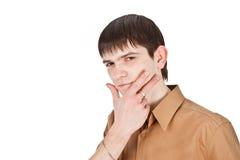 Erwachsener Kerl auf Isolat backout Stockbild