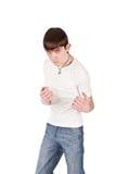 Erwachsener Kerl auf Isolat backout Stockfotografie