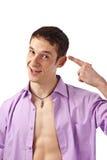 Erwachsener Kerl auf Isolathintergrund Lizenzfreie Stockbilder