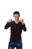 Erwachsener Kerl auf Isolathintergrund Lizenzfreies Stockfoto
