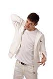 Erwachsener Kerl auf Isolathintergrund Stockfoto