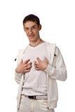 Erwachsener Kerl auf Isolathintergrund Stockfotos