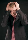 Erwachsener Kerl auf schwarzem backout Lizenzfreies Stockbild