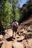Erwachsener Mann, der in der Wüste wandert Lizenzfreie Stockfotografie