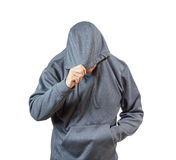 Erwachsener Mann im Kapuzenpulli stockfotografie