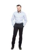 Erwachsener Mann mit einem Bart Lokalisiert auf Weiß stockbild