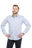 Erwachsener Mann mit einem Bart Lokalisiertes Weiß lizenzfreie stockfotografie