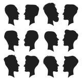 Erwachsener Manneskopfprofilschattenbild Mannikone Arbeiten Sie Leutehaarschnitt oder unbehaarte Männer Köpfe Schattenbilder loka Stockfoto