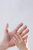 Erwachsener und child& x27; s-Handrührende Hilfsweichheit Stockbild
