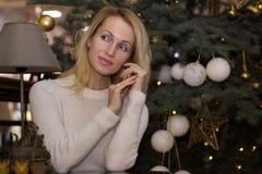 Erwachsenes langes Haarmädchen-Feier Weihnachten Lizenzfreie Stockbilder