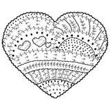 Erwachsenes Malbuchseite Vektorherz formte ethnisches Design des Musters in der wunderlichen Art Stockbild