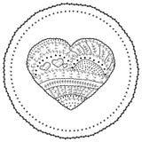Erwachsenes Malbuchseite Vektorherz formte ethnisches Design des Musters in der wunderlichen Art Stockbilder