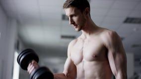 Erwachsenes Mannanheben Dummköpfe in einer Turnhalle mit dem nackten Torso stock footage