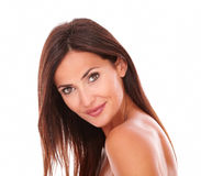 Erwachsenes schönes weibliches Lächeln an der Kamera Lizenzfreie Stockbilder