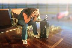 Erwarten für Flugzeug mit Verzögerung Stockbilder