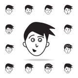 Erwartung der Gesichtsikone Ausführlicher Satz Gesichtsgefühlikonen Erstklassiges Grafikdesign Eine der Sammlungsikonen für lizenzfreie abbildung