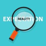Erwartung gegen Wirklichkeitskonzeptunternehmensanalyse-Lupensymbol lizenzfreie abbildung
