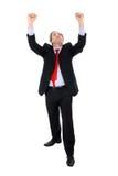 Erweitern sich der Geschäftsmann, der mit seinen Armen gestikuliert Stockbilder