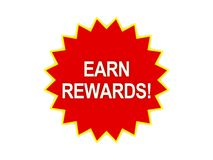 Erwerben Sie Belohnungsmeldung auf rotem Stern Stockfotos
