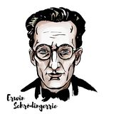 Erwin Schroedinger Portrait illustrazione di stock