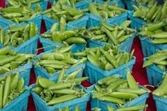 Erwten in blauwe manden Royalty-vrije Stock Foto