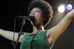 Erykah Badu performing live. Royalty Free Stock Images