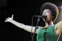 Erykah Badu performing live. Erykah Badu performing live at the Hollywood Palladium in September 2009 Stock Photos