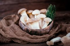 Eryngii de pleurotus de champignons d'huître de roi sur le fond en bois Type rustique photo stock