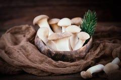 Eryngii do Pleurotus do cogumelo de ostra do rei no fundo de madeira Estilo rústico imagem de stock