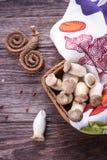 Eryngii Pleurotus гриба устрицы короля на деревянной предпосылке Деревенский тип стоковая фотография