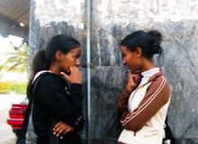 Erytrejskie kobiety mówją przy ulicami Asmara, Erytrea zdjęcia stock