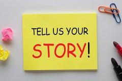 Erzählen Sie uns Ihre Geschichte lizenzfreies stockbild